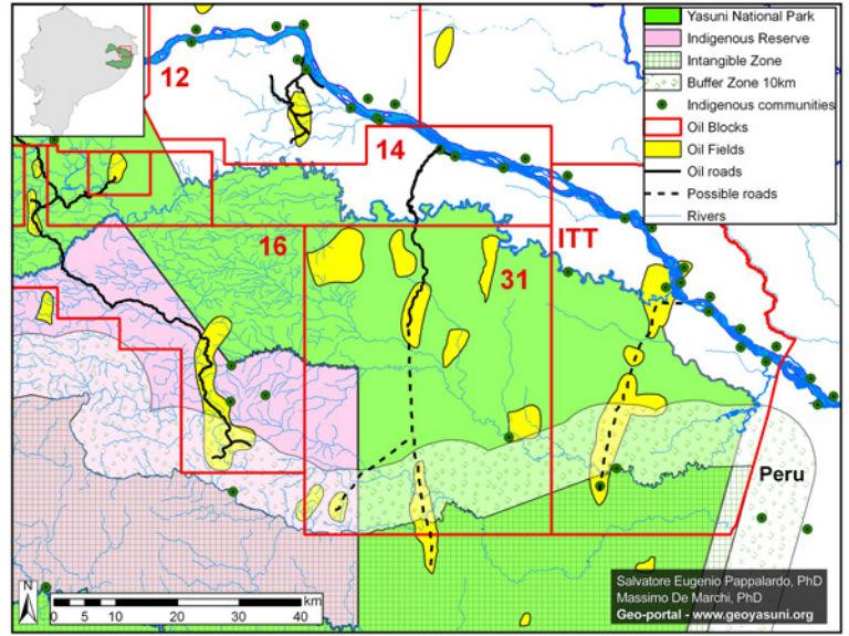 Mapa de bloques de petróleo en Yasuní. Mapa de cortesía de Finer, Pappalardo, Ferrara, De Marchi (2014)