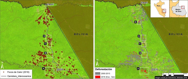 Deforestación alrededor de la carretera Interoceánica. Datos: UMD/GLAD, Hansen/UMD/Google/USGS/NASA, USGS/NASA, INPE.