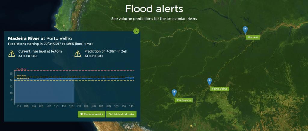 Screenshot of Floods alert website on desktop