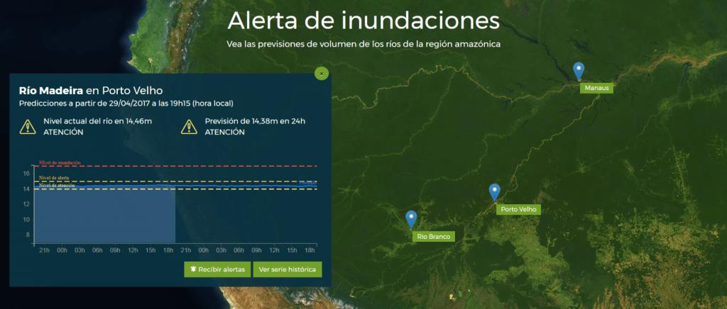 Captura de pantalla del sítio de Alerta de Inundaciones en desktop
