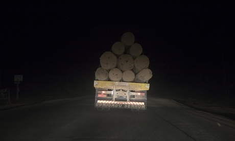 Truck loaded with timber