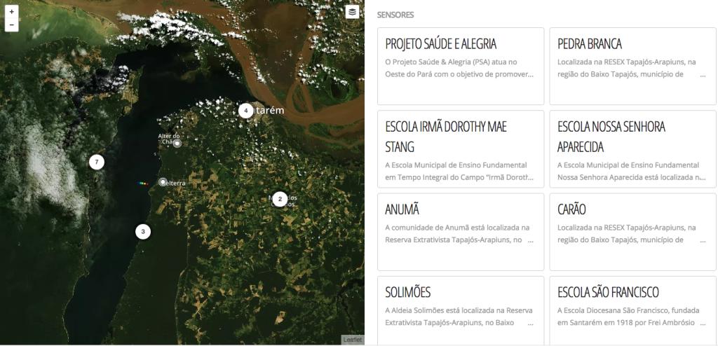 Reprodução do site especial do projeto Rede InfoAmazonia. Mapa com os pontos dos sensores instalados na região de Santarém